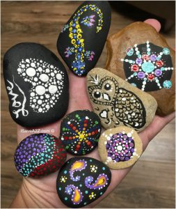 Painted Rock Designs done with a dotting pen set