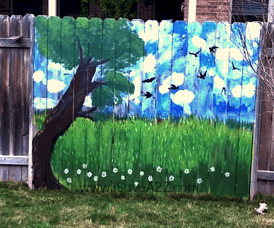 Painted fence ideas backyard fence decorating design for Decorating your garden fence