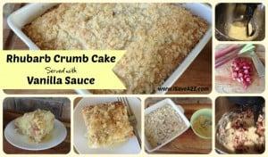 Rhubarb Crumb Cake with Vanilla Sauce