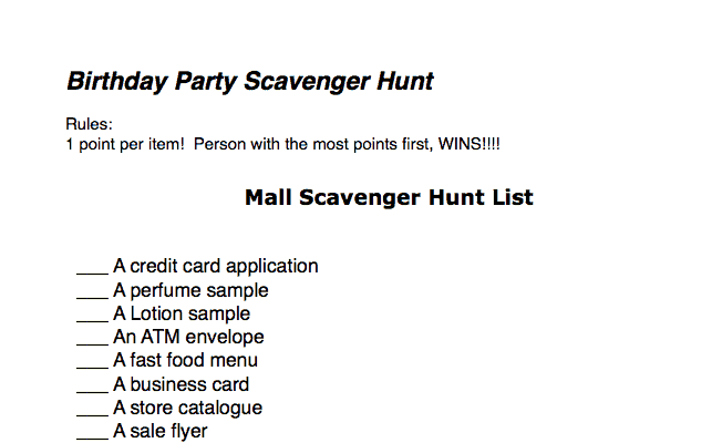 Teen Birthday Party Idea Mall Scavenger Hunt