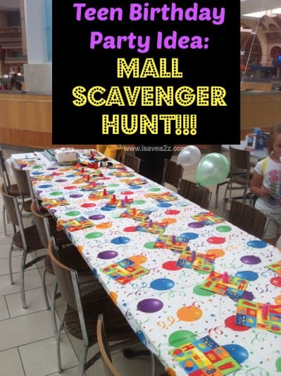 Birthday Party Idea Mall Scavenger Hunt