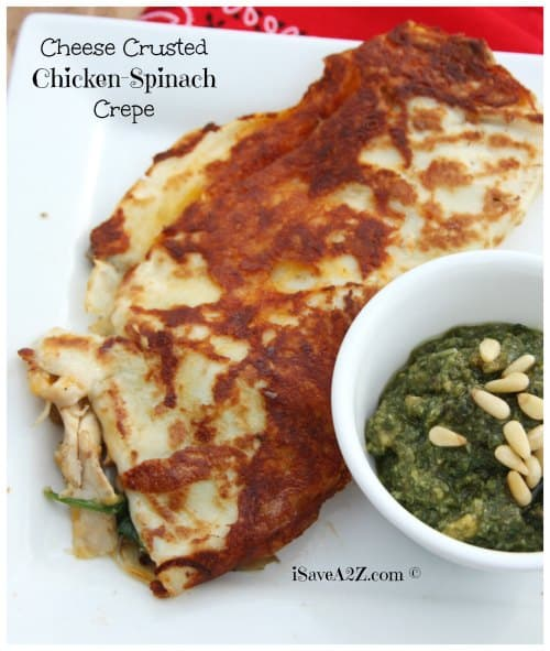 Cheese crusted Chicken Spinach Crepe Recipe