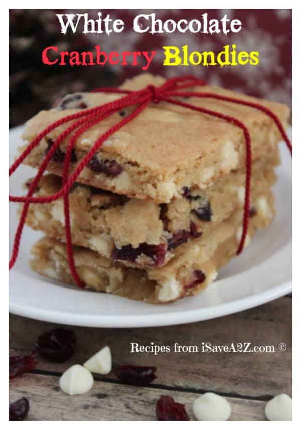 Easy White Chocolate Cranberry Blondies Recipe