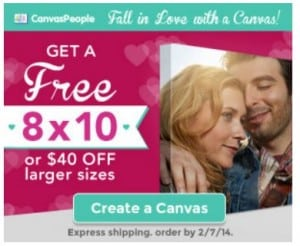 Perfect Gift Idea:  Free 8×10 Canvas or $40 off!