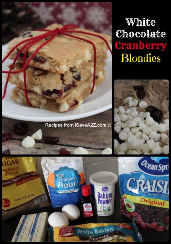White Chocolate Cranberry Blondies Recipe