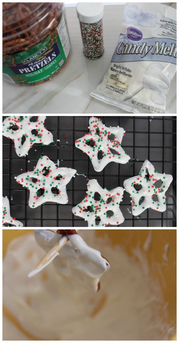 Place cooling rack over a piece of wax paper Heat white candy chips in small Bowl by microwaving for 30 seconds stirring and repeating until melted. Allow to cool for 2-3 minutes. Dip Pretzels in white chocolate to cover completely and place on cooling rack sprinkle with decorations. Repeat for remaining pretzels. Allow to set before placing in jar.