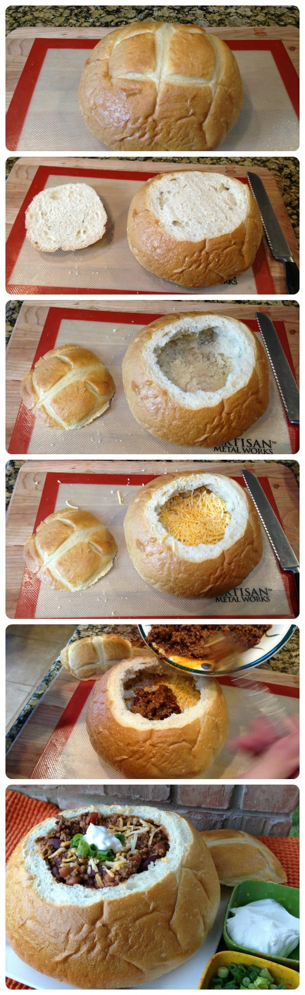 Chili served in a bread bowl