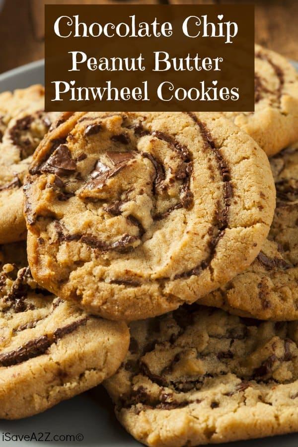 Chocolate Chip Peanut Butter Pinwheel Cookies!