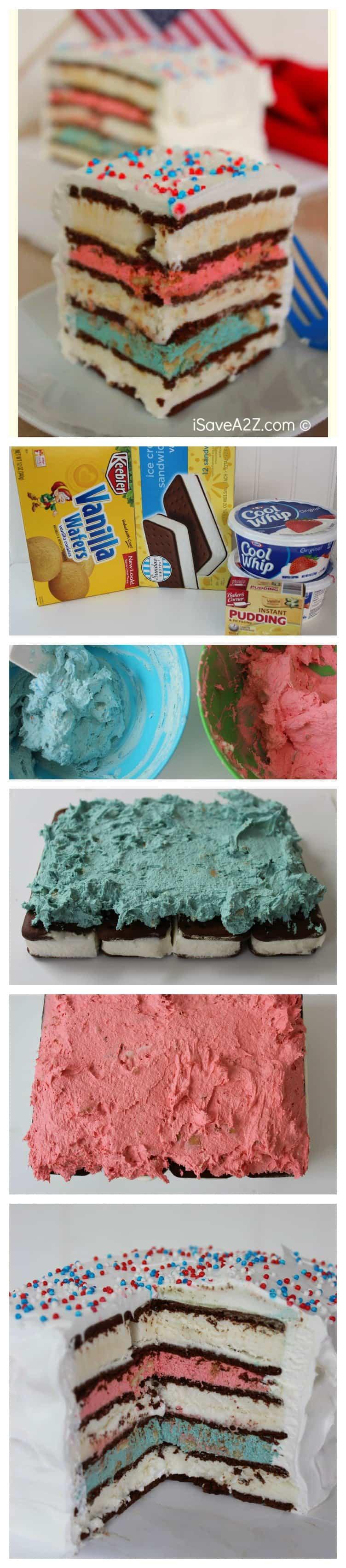 Red White and Blue Ice Cream Sandwich Cake recipe