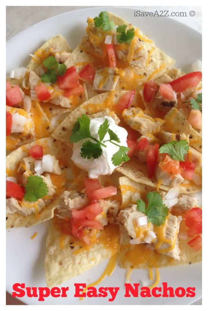 Super Easy Grilled Chicken Nachos Recipe - iSaveA2Z.com
