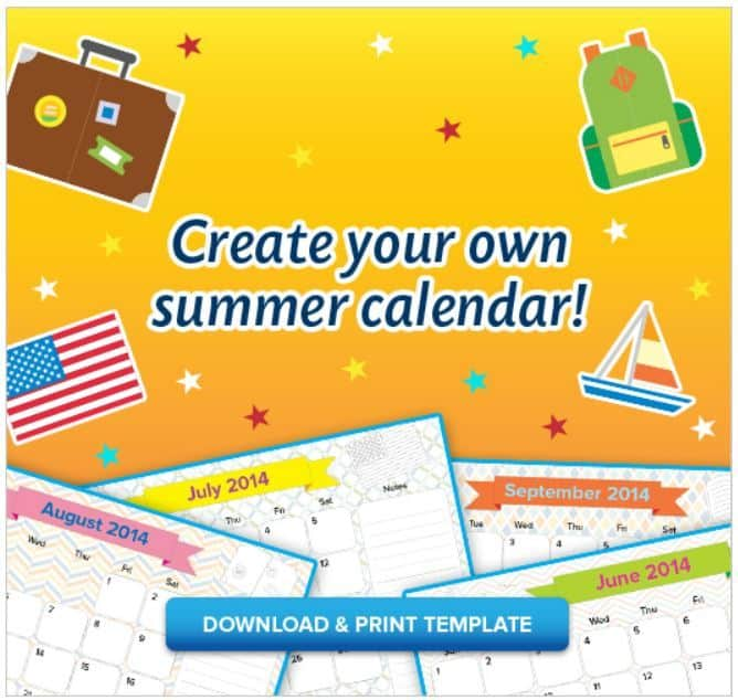Free Printable Kids Summer Calendar Just For Them To Fill Out