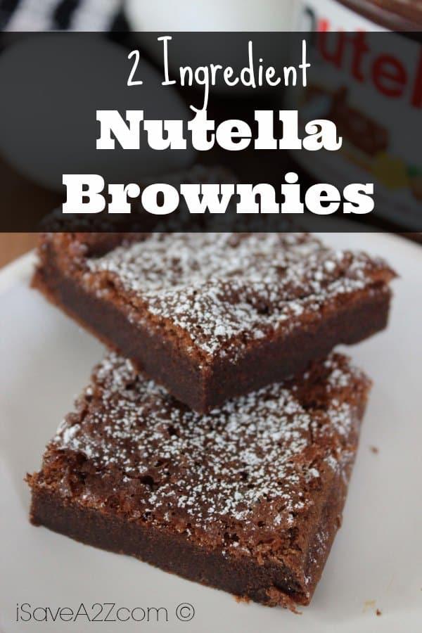 2 Ingredient Nutella Brownies - iSaveA2Z.com