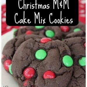Christmas M&M Cake Mix Cookies