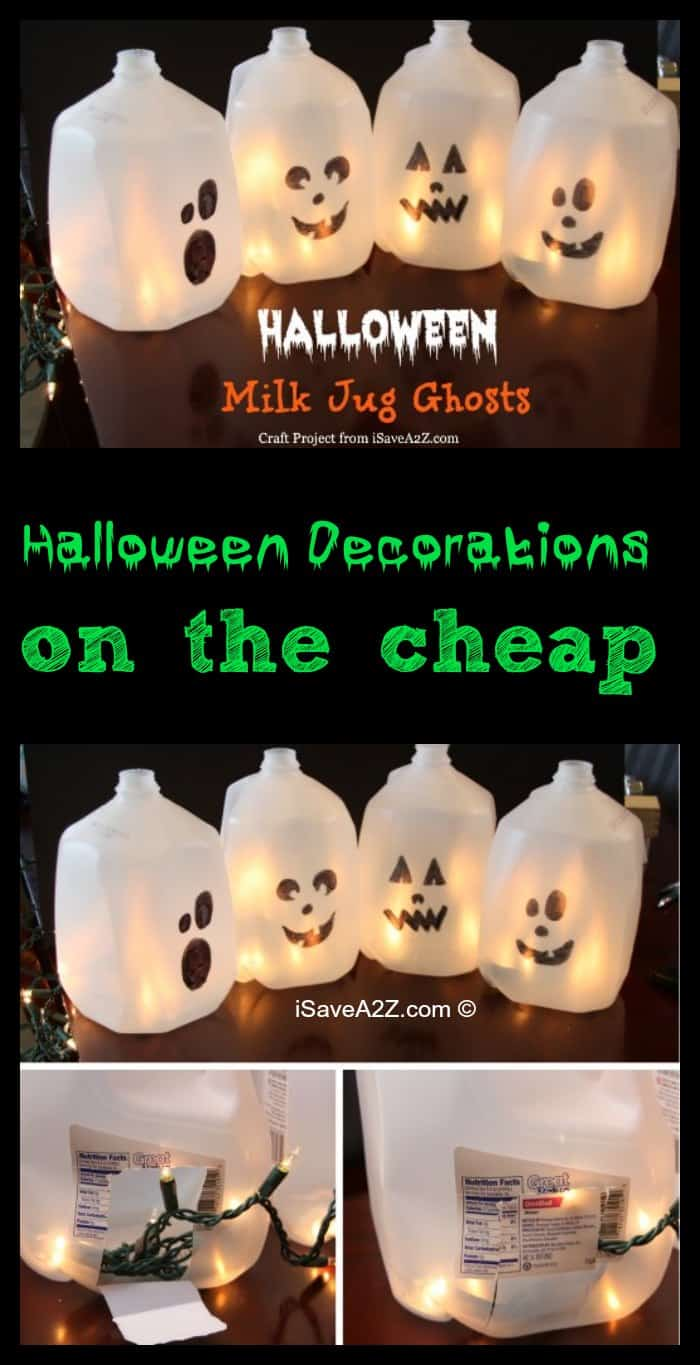 halloween decorations on the cheap milk jug ghosts - Milk Carton Halloween Ghosts