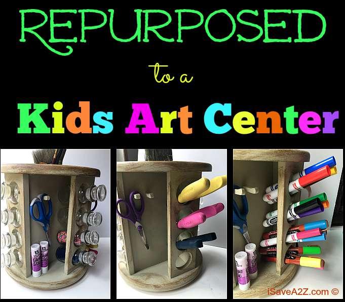 Repurposed Spice Rack to a Kids Art Center - iSaveA2Z.com