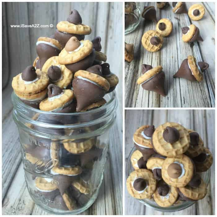 Cute Acorns made with Hershey's Kisses, Nutter Butter Cookies and Chocolate Chips