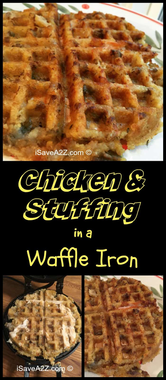 We heated up some Chicken and Stuffing in a waffle iron and it came out amazing!