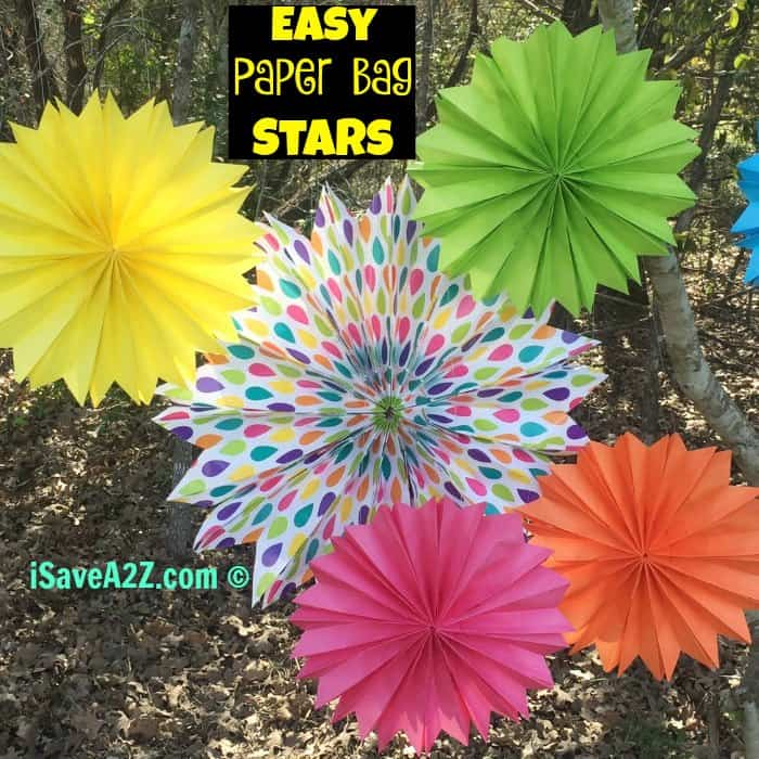 Easy Paper Bag Stars made from lunch bags