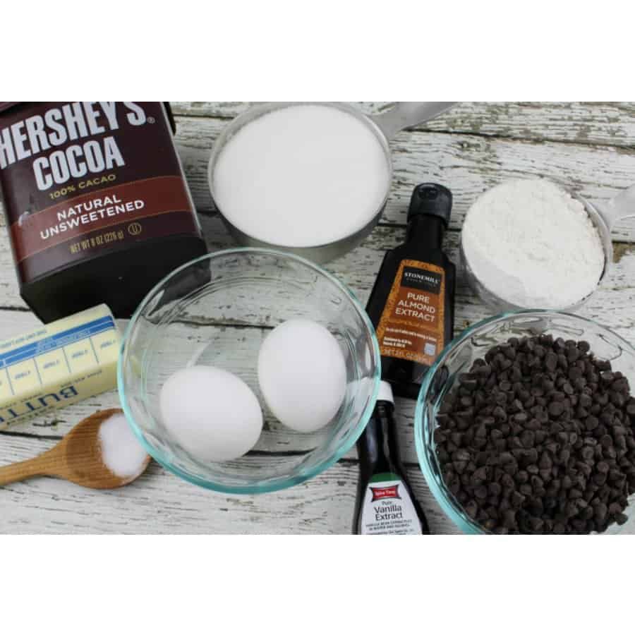 Ingredients needed for Red, White, and Blue Brownie Bites