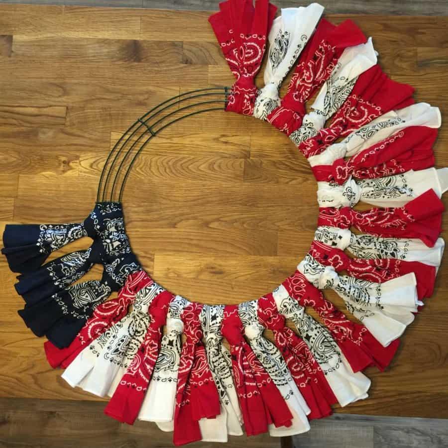 Red White And Blue Bandana Flag Wreath Craft Idea