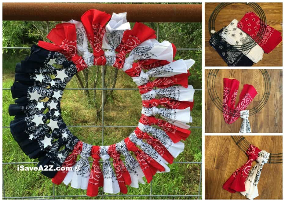 red white and blue craft ideas white and blue bandana flag wreath craft idea 7890
