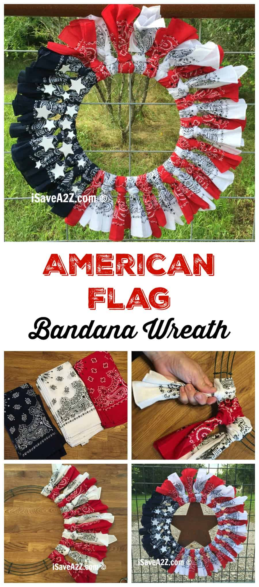 Red, White and Blue Bandana Flag Wreath