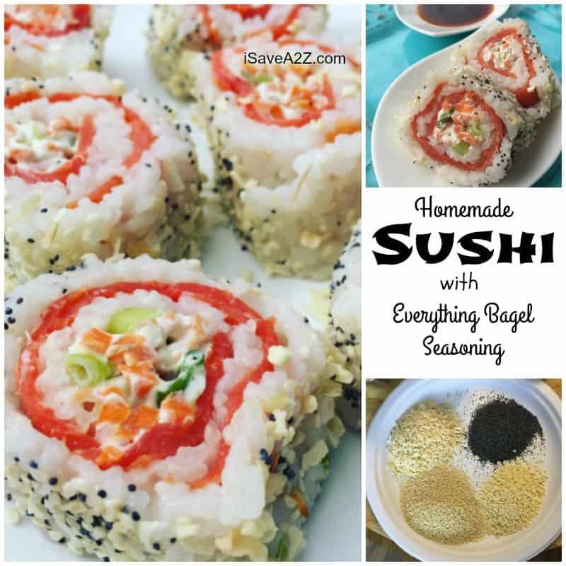 Homemade Sushi Rolls with Everything Bagel Seasoning