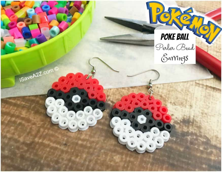 Pokemon Earrings Made Out of Perler Beads - iSaveA2Z com
