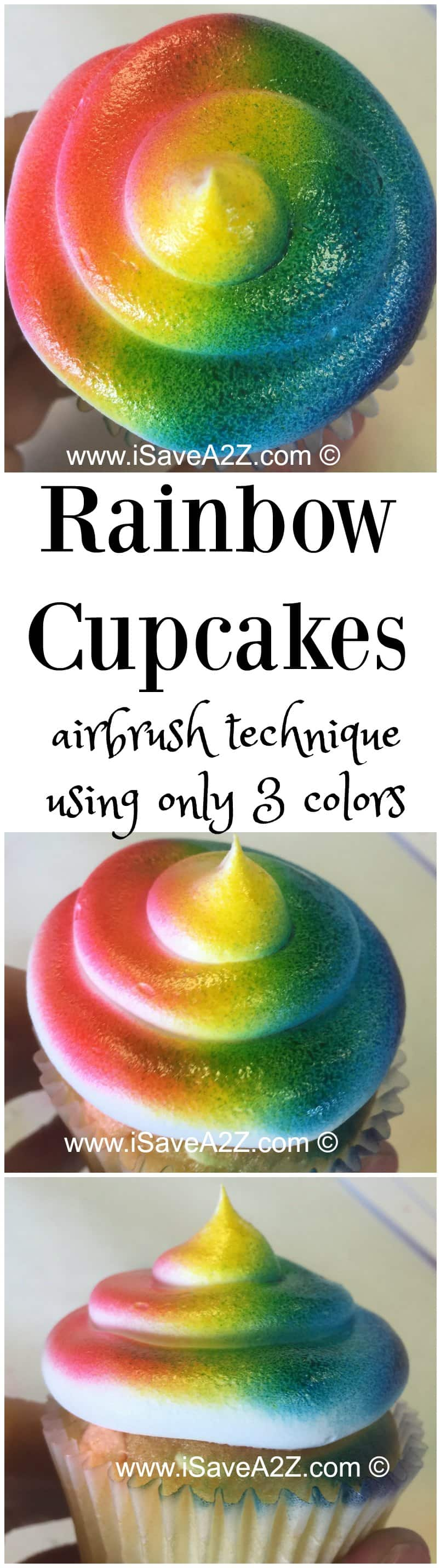 How to Airbrush Cupcakes into a rainbow design using only 3 colors!