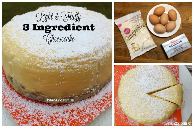 Light & Fluffy 3 ingredient Cheesecake recipe