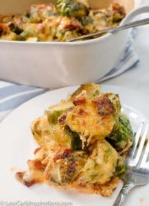 This one skillet casserole is the perfect side dish for the keto/low carb diet. This Baked Brussel Sprouts Casserole is the perfect blend of creamy and savory all rolled into one amazing recipe.