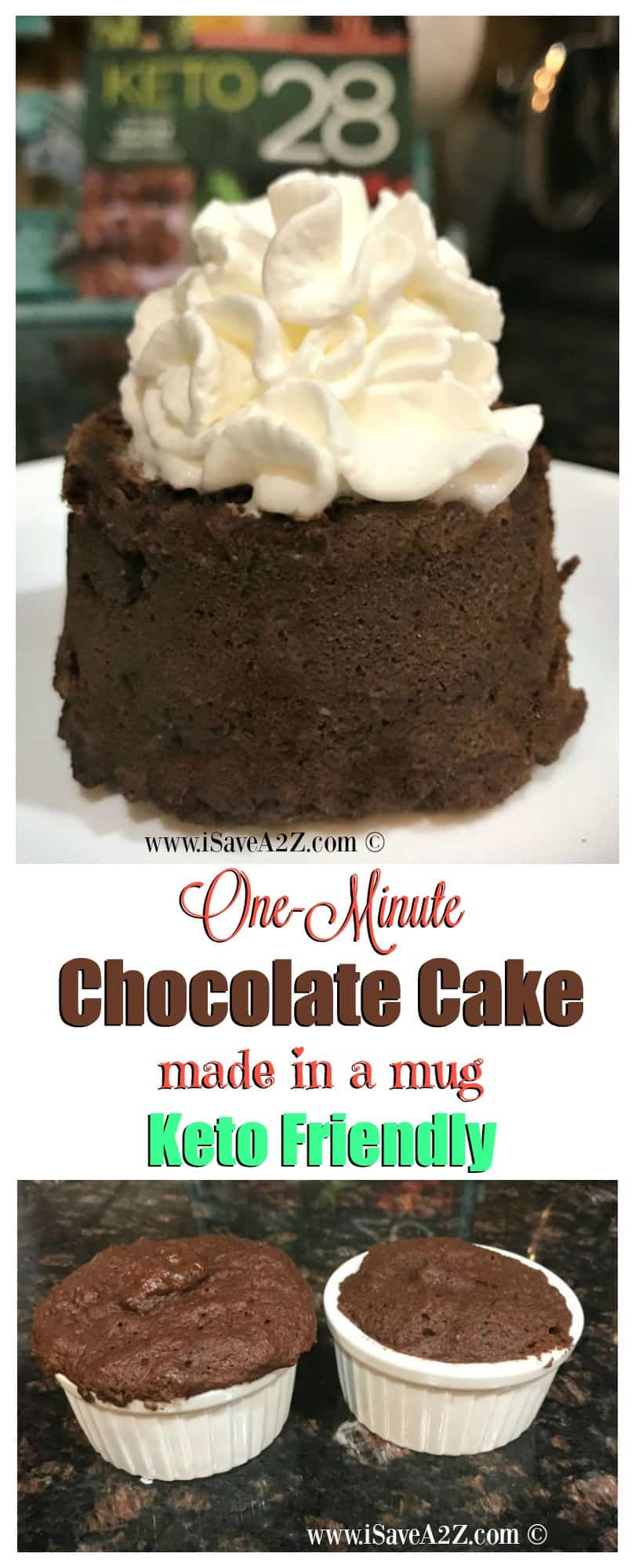 One Minute Keto Chocolate Mug Cake (a keto friendly dessert recipe)