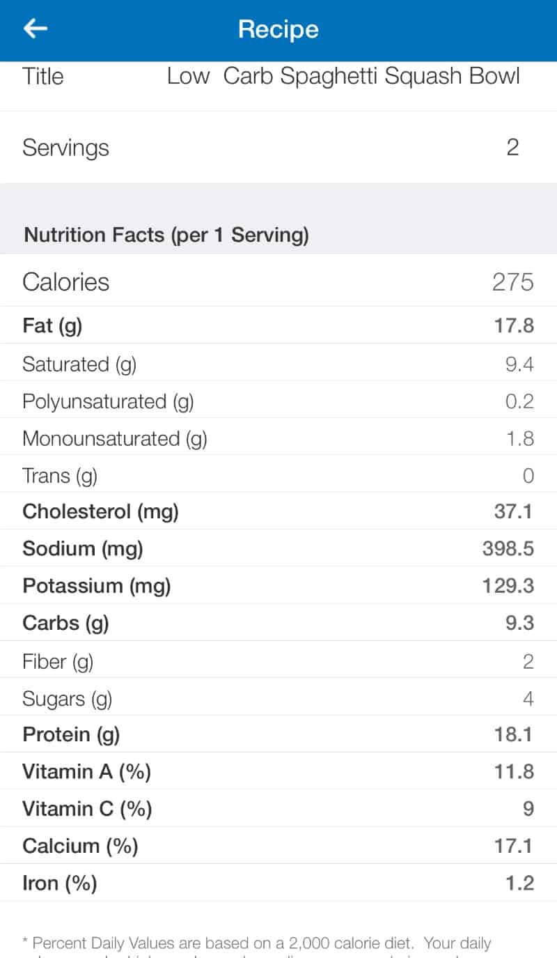 Low Carb Spaghetti Squash Recipe Nutrition Label