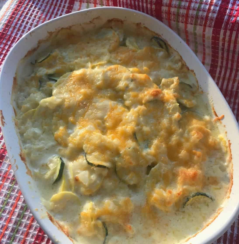 Cheesy Zucchini Squash Au Gratin Bake Recipe