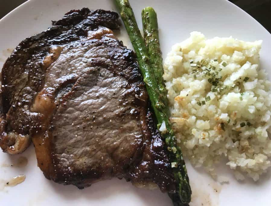 Keto Friendly Quick Dinner Idea: Ribeye Steak, Riced Cauliflower & Asparagus