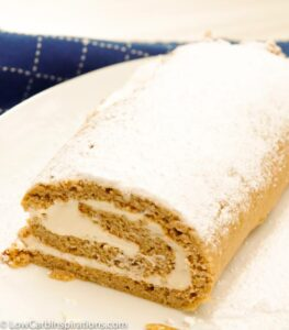 Looking for a keto pumpkin dessert? This Keto Pumpkin Roll Recipe is just what you are looking for! Light and fluffy, this pumpkin roll won't disappoint. At 2 net carbs per serving, this is going to be your go-to fall dessert.