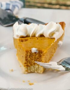 It's hard to believe this delicious pumpkin pie is a Low Carb Pumpkin Pie recipe! It's full of flavor with a secret ingredient that gives it a rich, smooth taste!