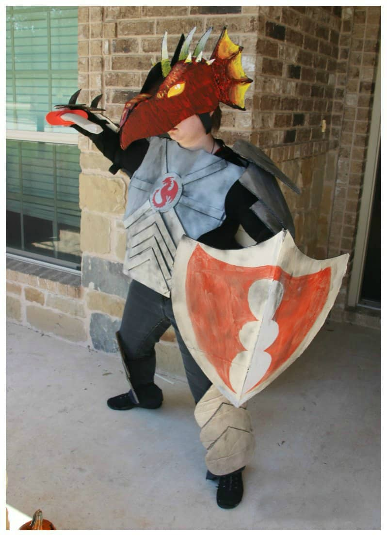 Dragon Knight Costume Made Out Of Boxes