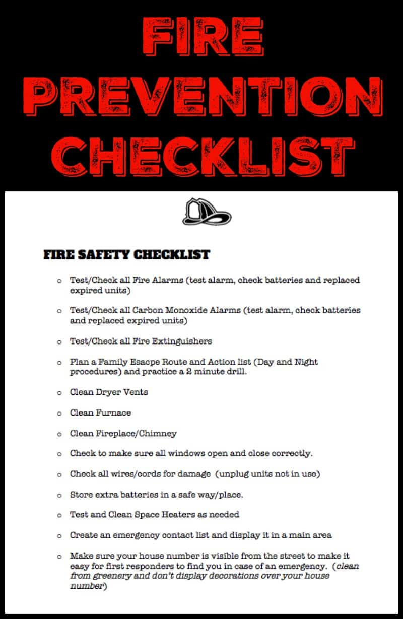 Fire Prevention Checklist Printable Isavea2z Com