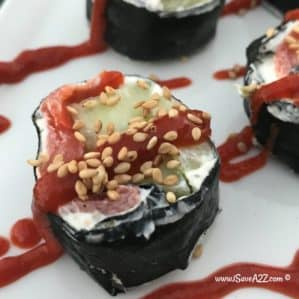 Keto Sushi Rolls made with Smoked Salmon and Cucumbers