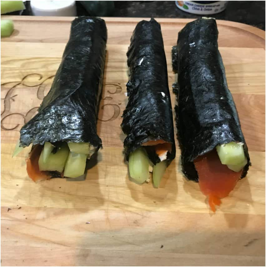 Keto Sushi Rolls with Smoked Salmon and Cucumber