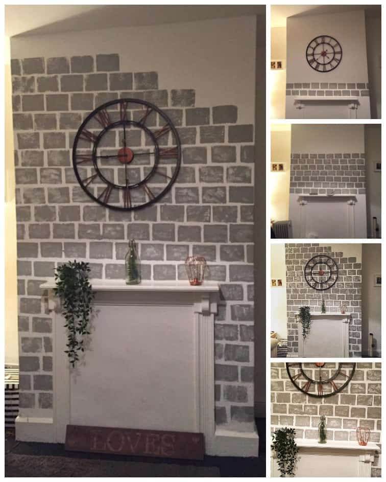 Faux brick fireplace fireplaces for Diy mural projector