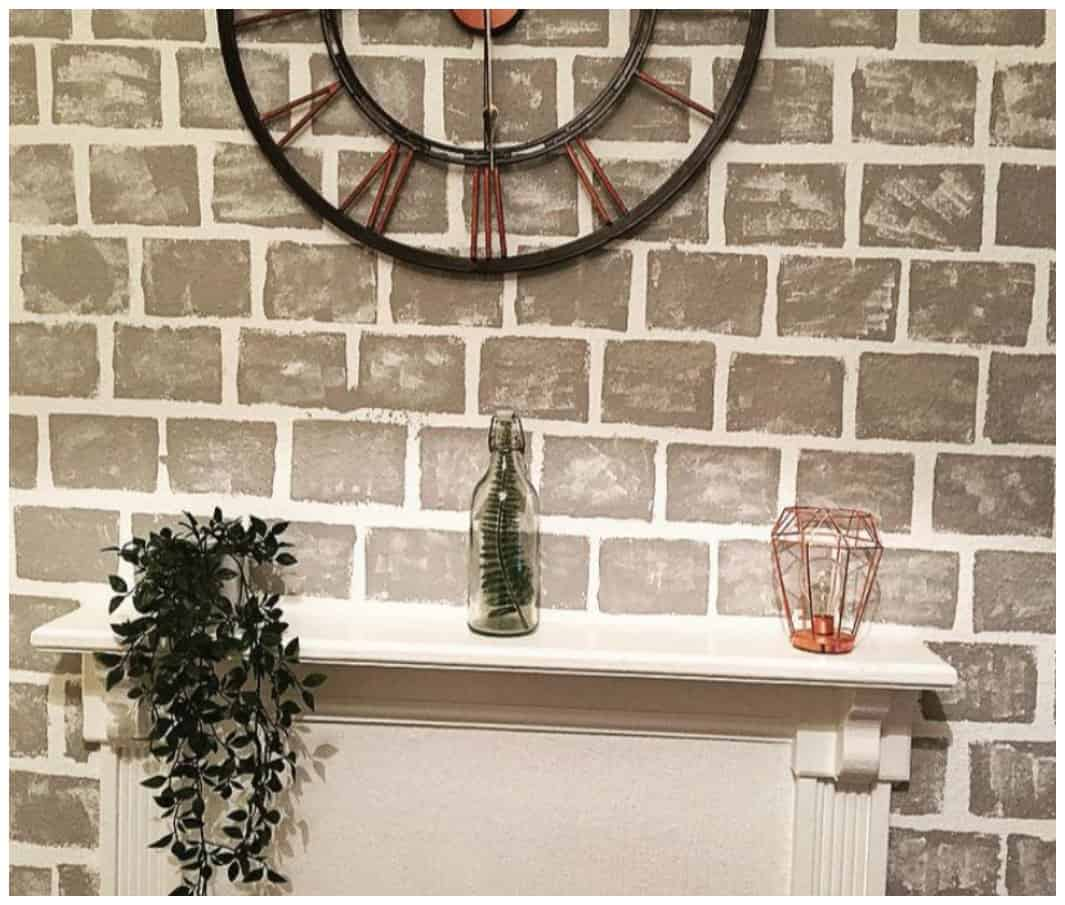 DIY How to Paint a Faux Brick Fireplace Project Idea