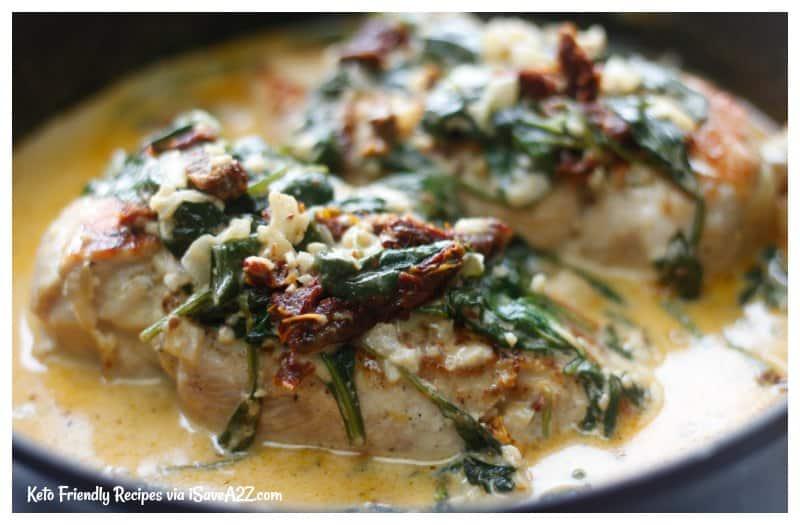 Low Carb Creamy Tuscan Chicken Recipe - iSaveA2Z.com