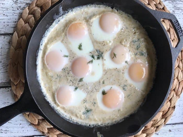 The BEST Creamy Keto Skillet Eggs Recipe