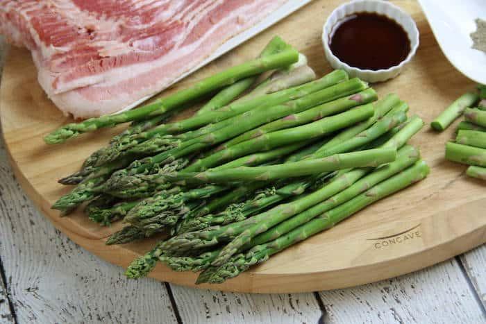 Keto Bacon Wrapped Asparagus made with a secret sauce!