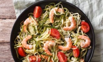 Keto Skillet Shrimp Scampi and Zoodles