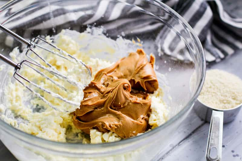 Peanut butter and whipped cream cheese in a bowl