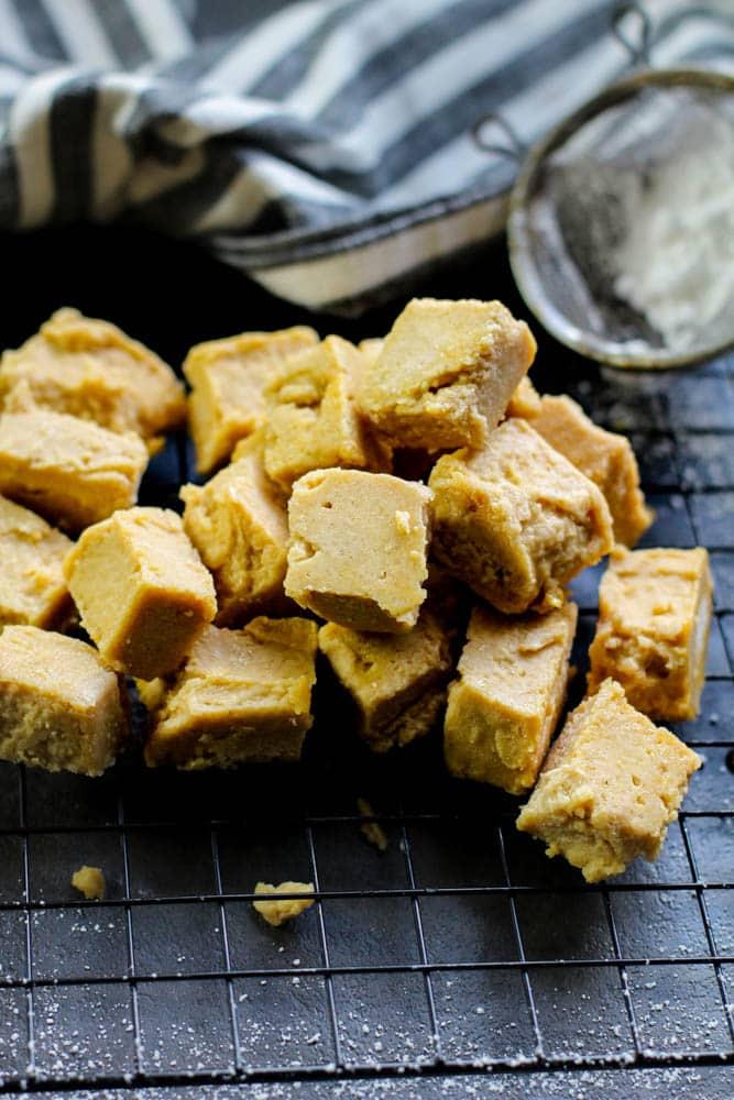 Keto Peanut Butter Fudge Recipe on a black background