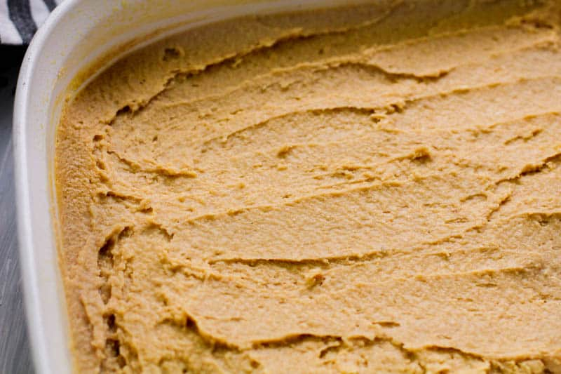 spread peanut butter fudge in a pan